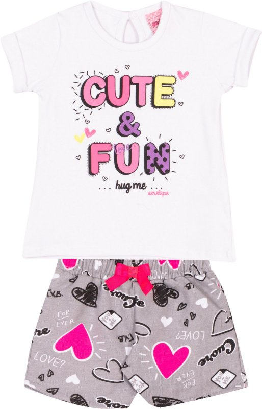 Conjunto Cute & Fun Branco - Serelepe kids