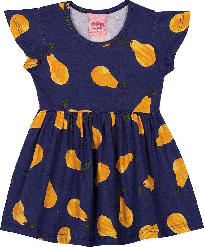 Vestido em meia Malha Pera Marinho - Serelepe Kids