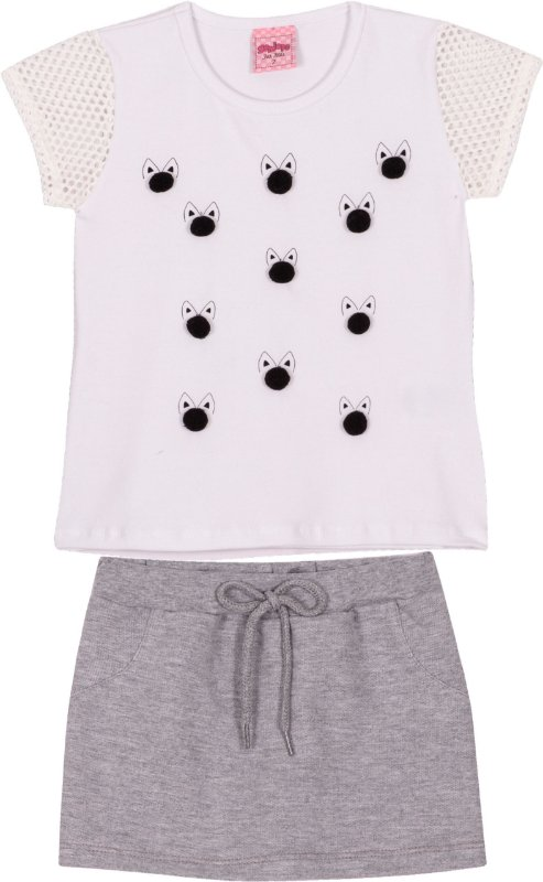 Conjunto Cat Style Off White - Serelepe Kids