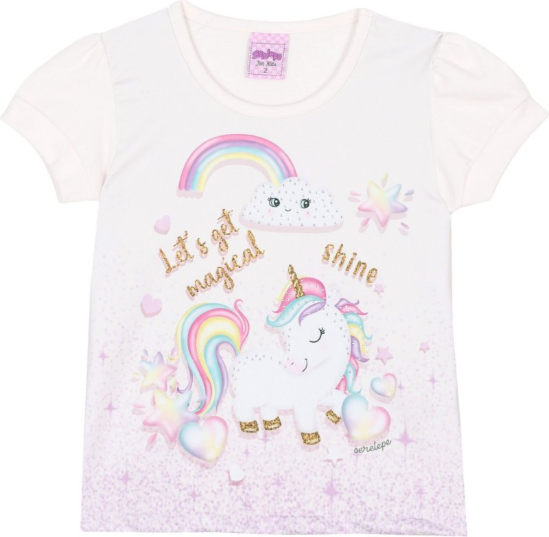 Blusa Avulsa Unicórnio Off White - Serelepe Kids