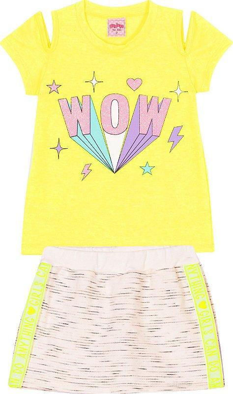 Conjunto Wow Neon Amarelo - Serelepe Kids