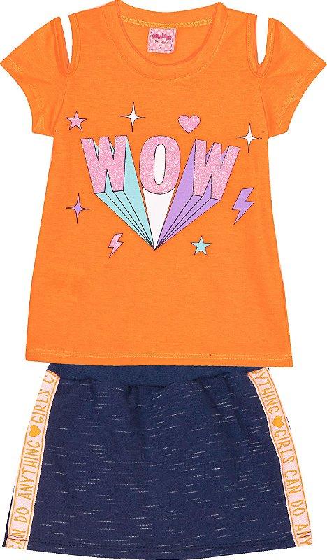 Conjunto Wow Neon Laranja - Serelepe Kids