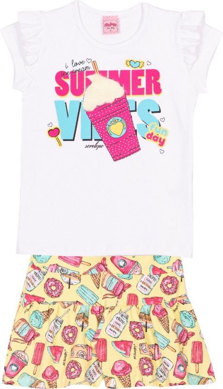 Conjunto Summer Vibes Branco - Serelepe Kids