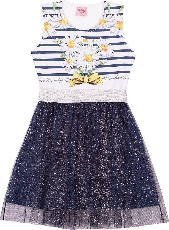 Vestido Tule Margaridas Marinho - Serelepe Kids