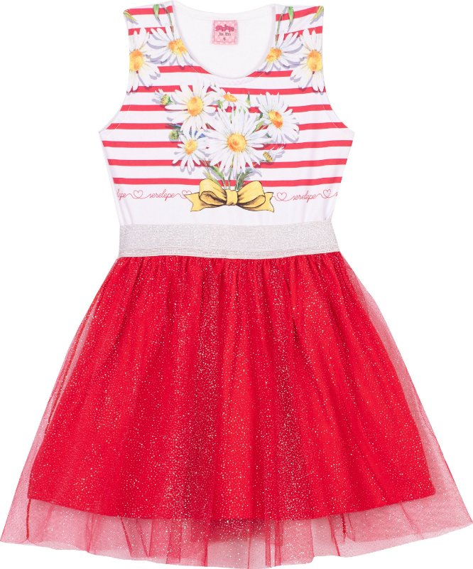 Vestido Tule Margaridas Vermelho - Serelepe Kids