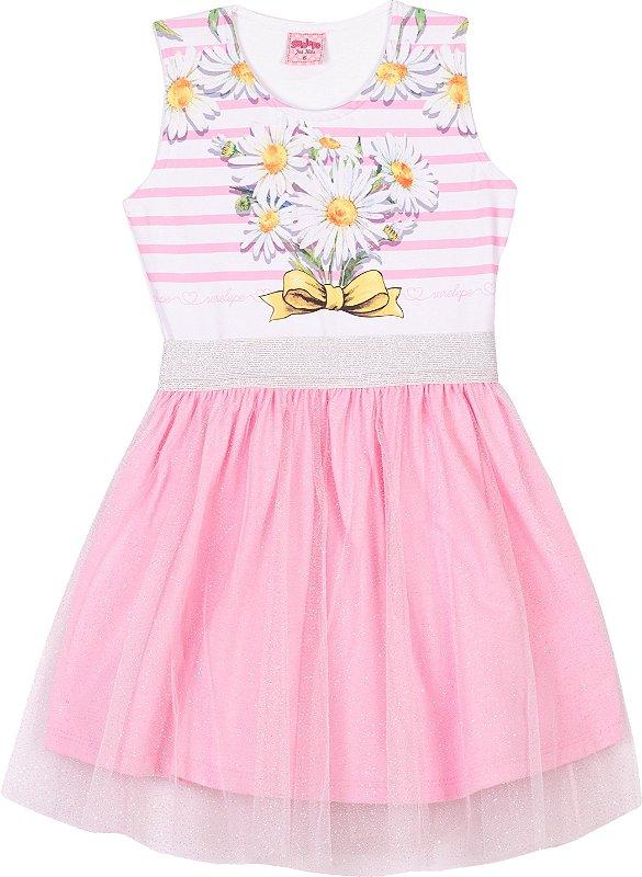 Vestido Tule Margaridas Bêgonia - Serelepe Kids