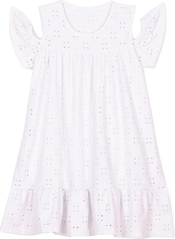Vestido em Lazzie Branco Infantil  - Serelepe Kids