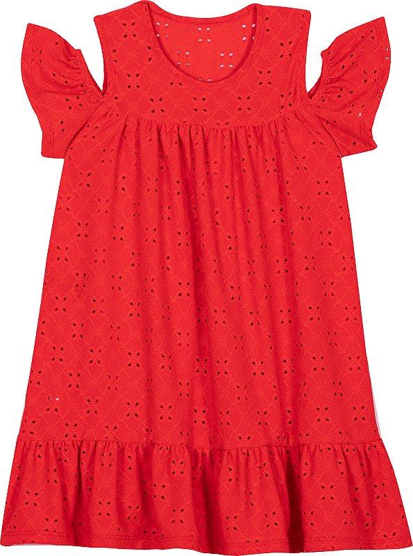 Vestido em Lazzie Vermelho Infantil  - Serelepe Kids