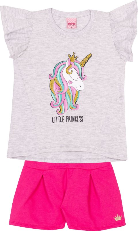 Conjunto Unicórnio Little Princess Mescla Banana - Serelepe Kids
