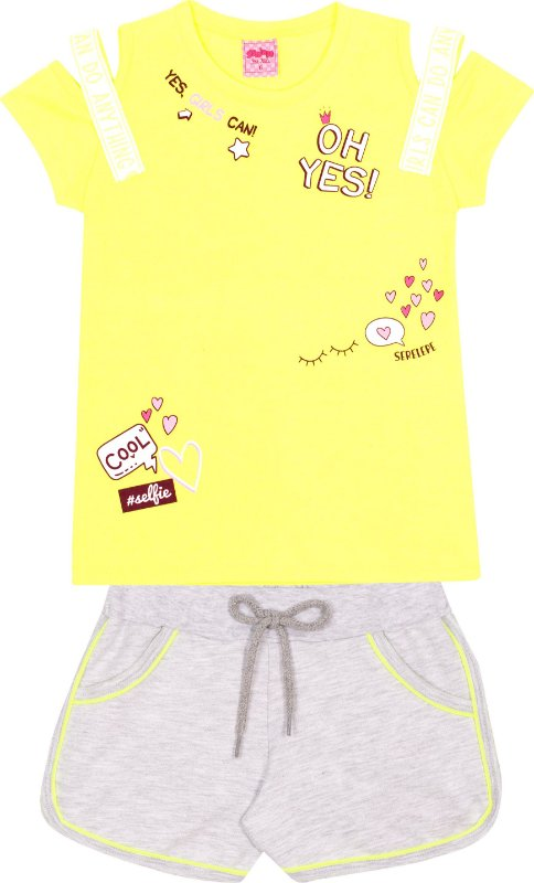 Conjunto Neon oh Yes Amarelo - Serelepe kids