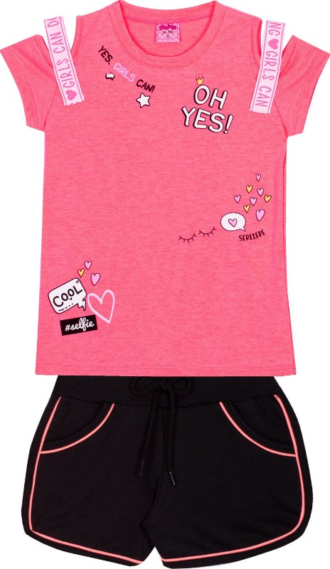Conjunto Neon oh Yes Rosa - Serelepe kids