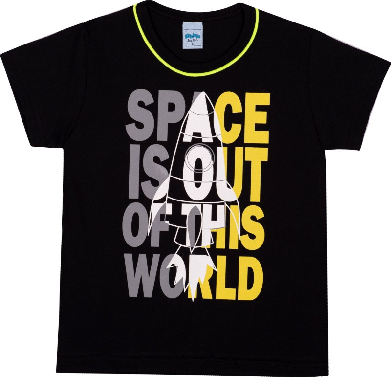 Serelepe Kids - Camiseta Avulsa Space Preto
