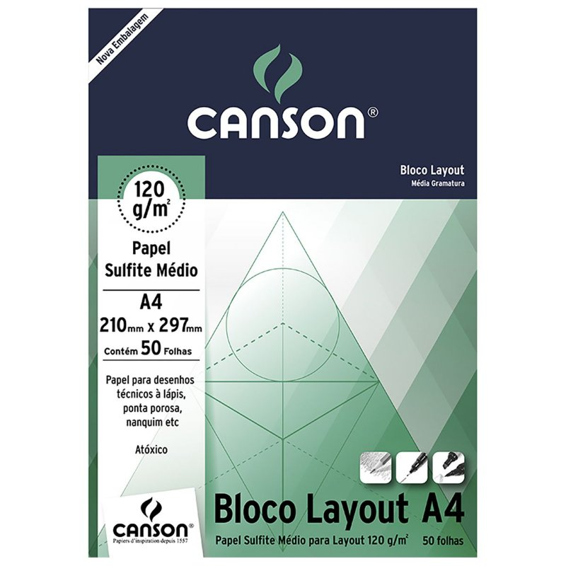 BLOCO CANSON LAY OUT 120GR A4 50FL