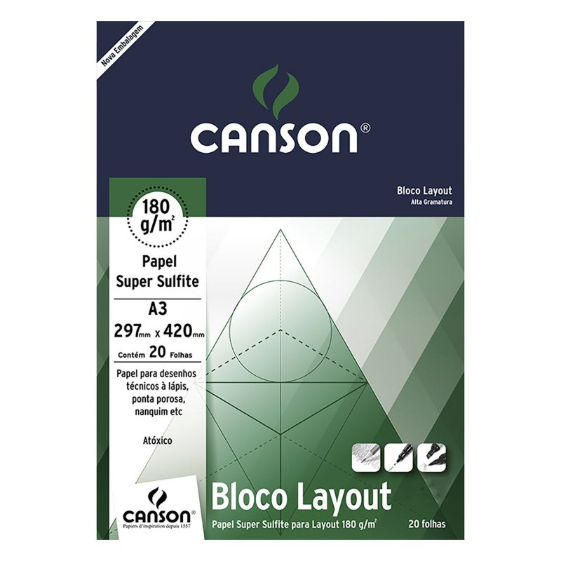 BLOCO CANSON LAY OUT 180GR 20FL