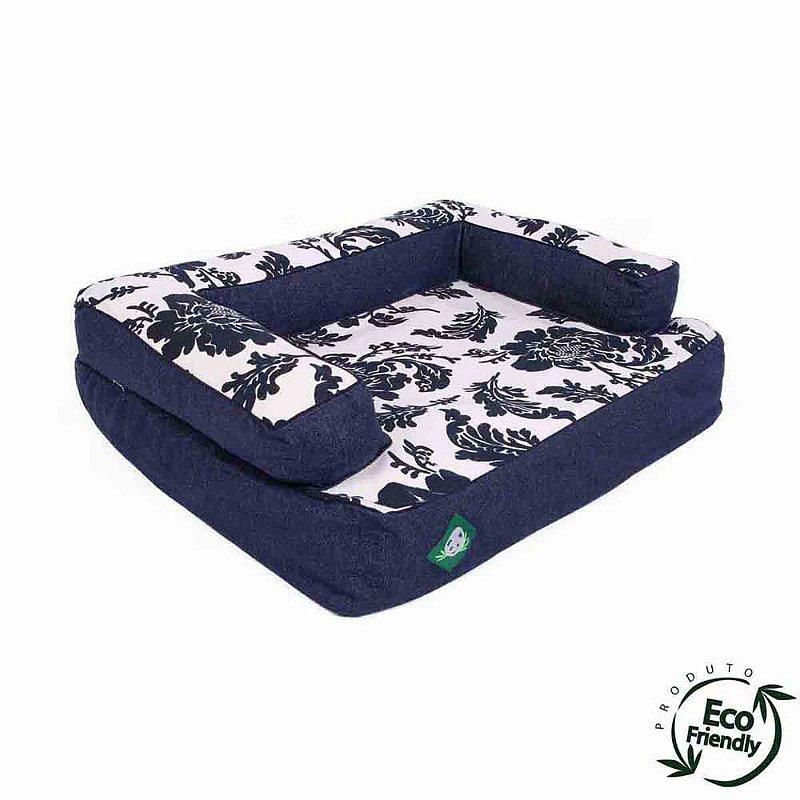 Cama Sofá Ecológico Para Cachorro - Blue Flowers