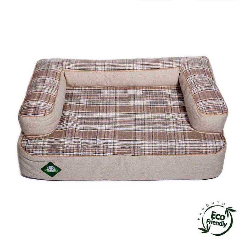 Cama Sofá Ecológico Para Cachorro - Xadrez Caqui