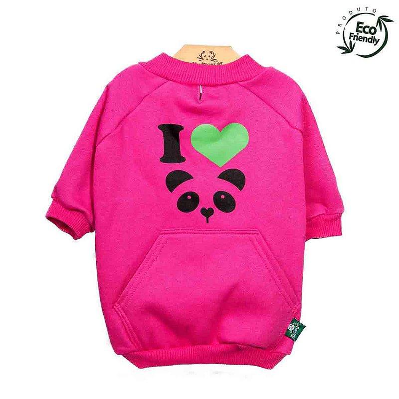 Moletom Ecológico Para Cachorro - Panda Pink