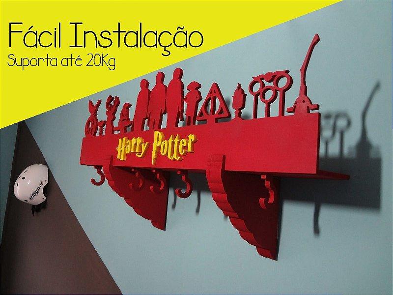 Prateleira E Cabideiro 3d Harry Potter Vermelha