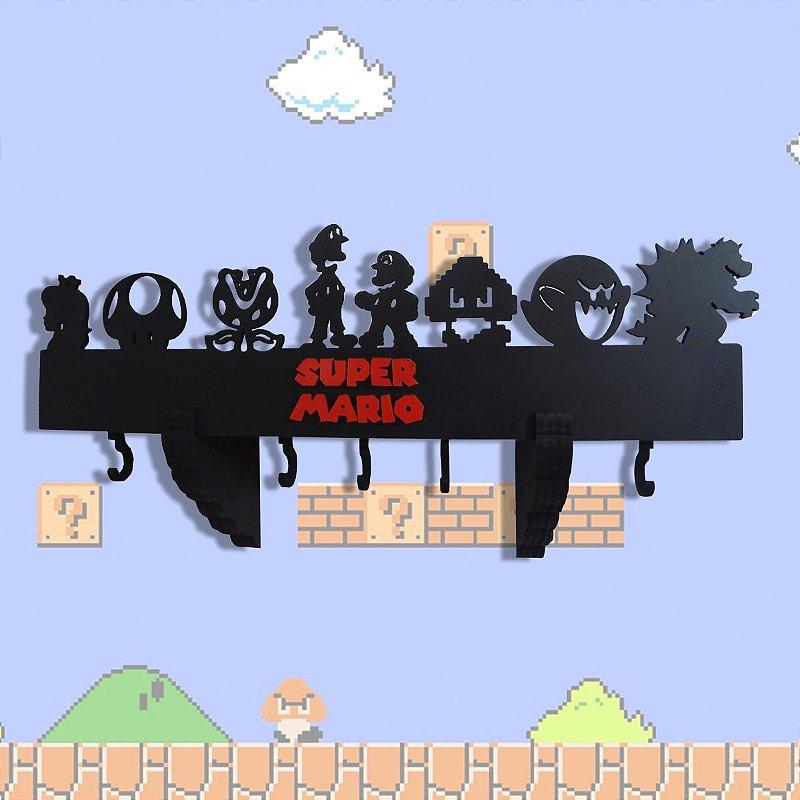 Prateleira E Cabideiro 3d Super Mario