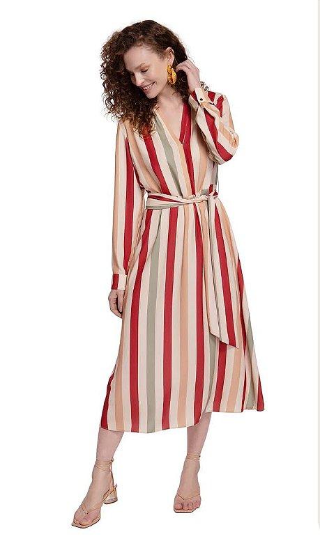 Vestido Maria Valentina Midi Decote V Com Faixa Vermelha