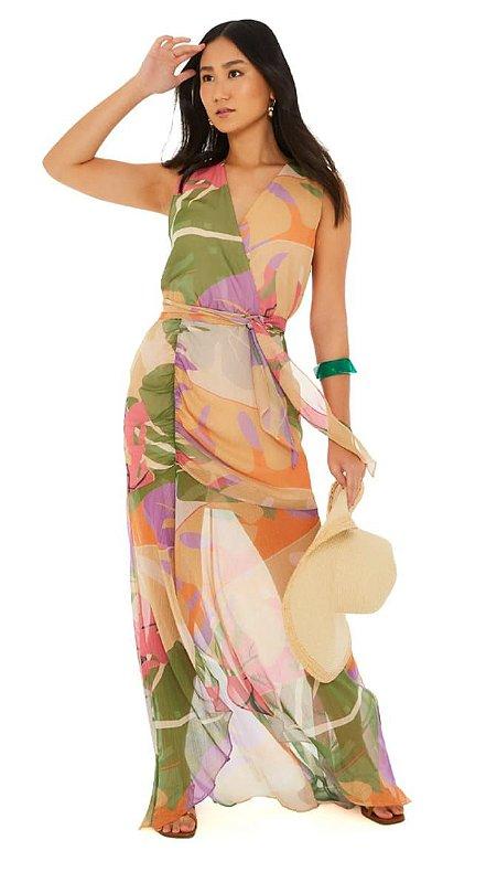 Vestido maria valentina decote traspassado com fenda