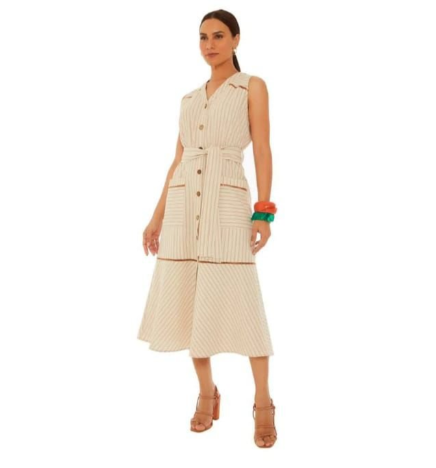 Vestido Maria Valentina Midi Decote V Bolso Laranja