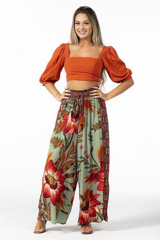 Calça Farm Pantalona Mix de Floral