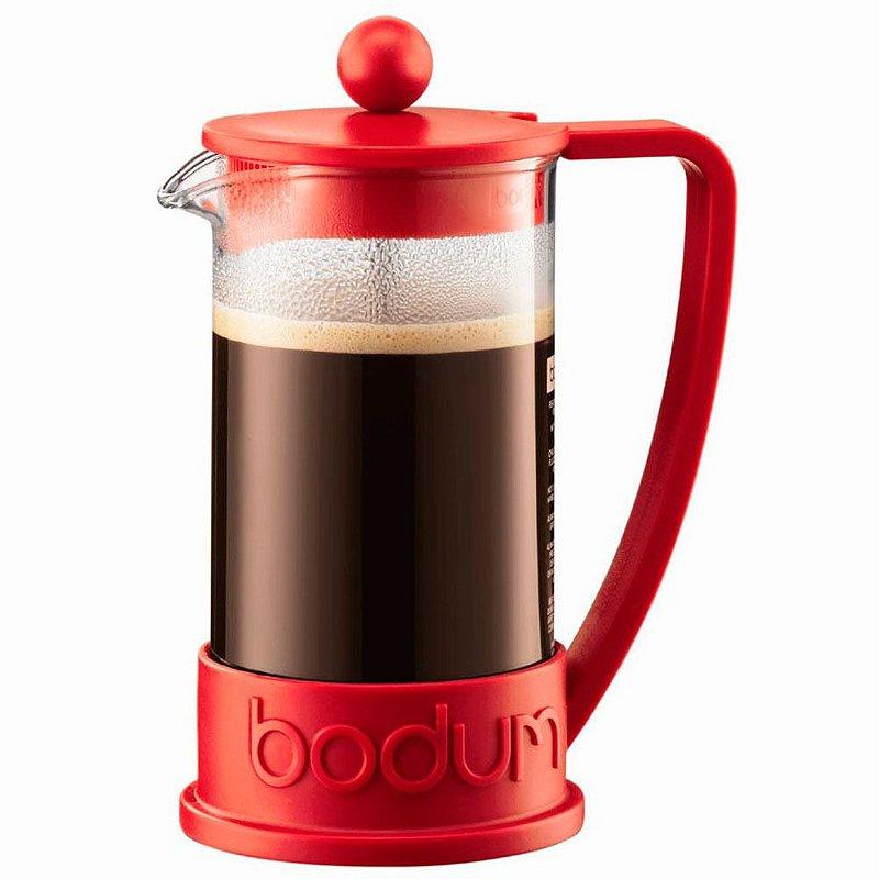 Cafeteira Prensa Francesa Bodum Para Chá e Café - Vermelha Modelo Brazil 350ml - BD-10948-01