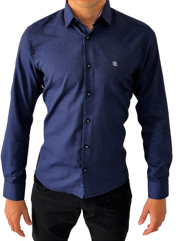 Camisa Social Slim Azul Marinho