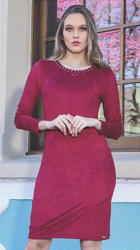 Vestido Suede Evangélico Nina Marsala