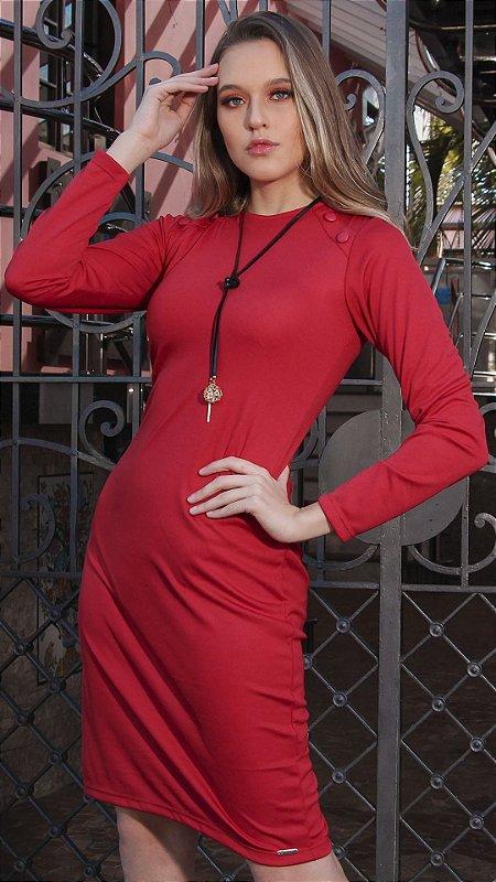 Vestido Evangélico Carolina Vermelho