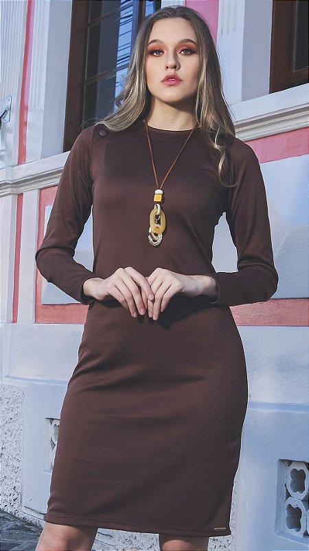 Vestido Evangélico Carolina Marrom