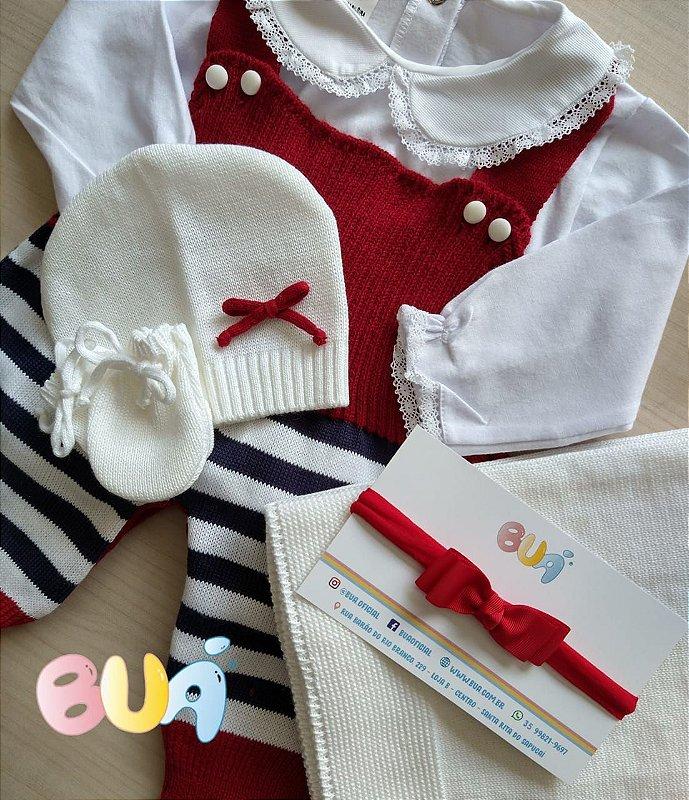 Saída Maternidade Feminina Tricot - Verm. listras marinho e branco - 03 Peças