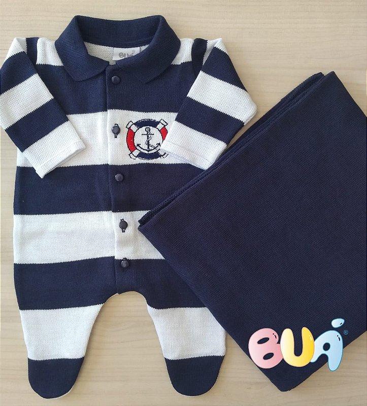 Saída Maternidade Masculina Tricot - Marinho / Branco - 02 Peças