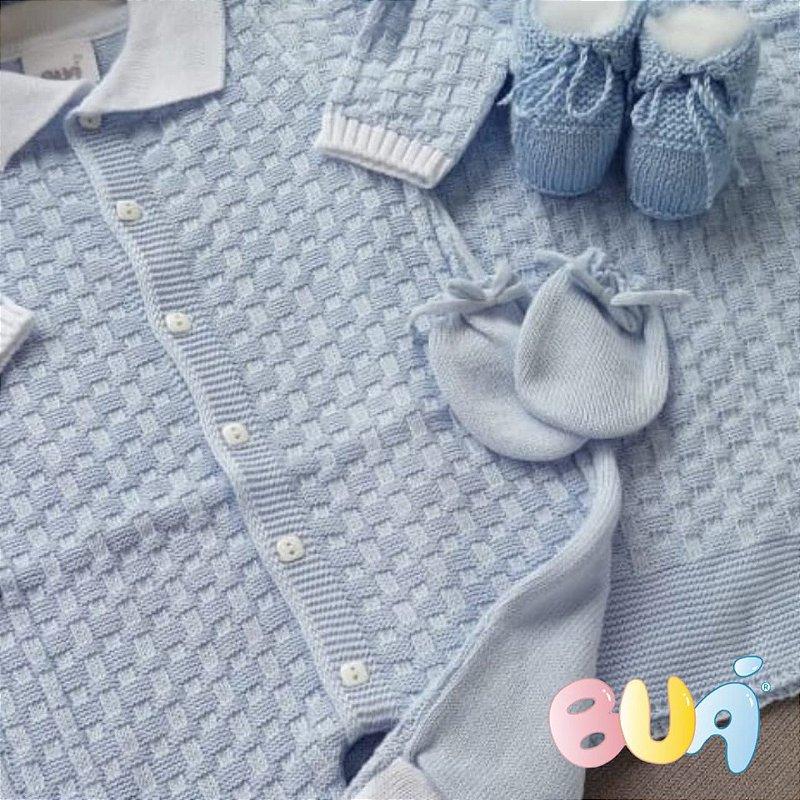 Saída Maternidade Masculina Tricot - Azul Bebê / Branco - 02 Peças