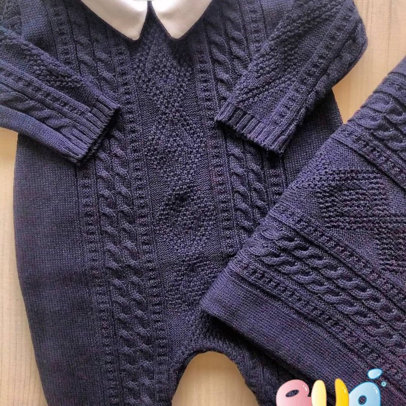 Saída Maternidade Masculina tricot - Marinho - 02 Peças