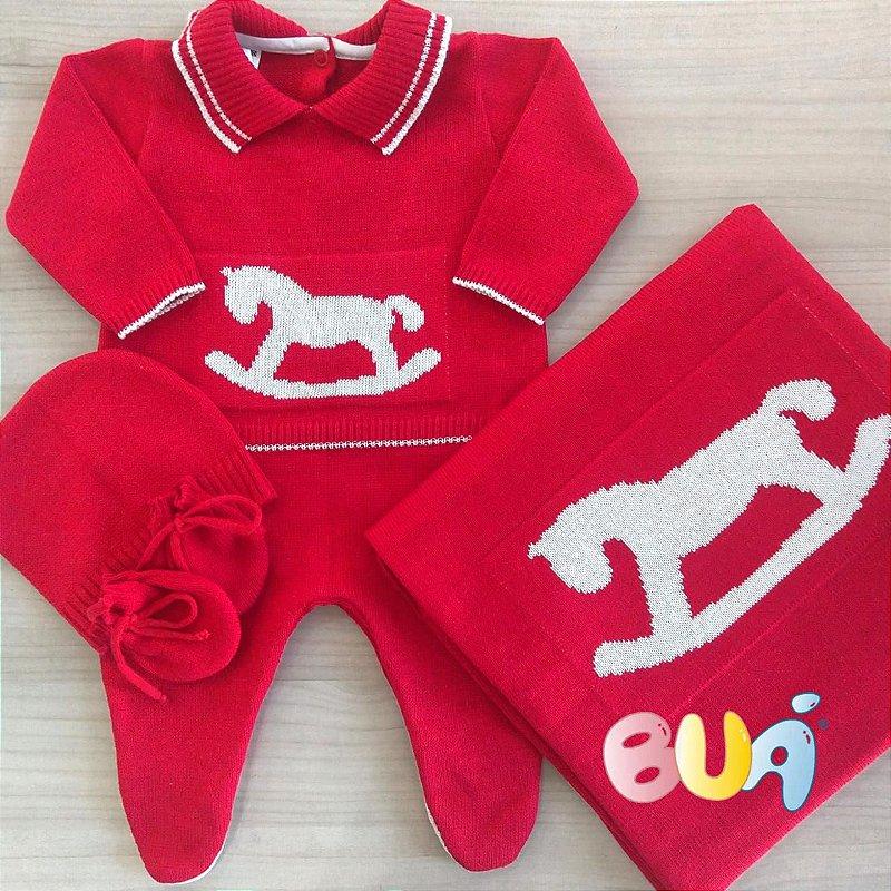 Saída Maternidade Masculina Tricot - Vermelho / Off White - 02 Peças