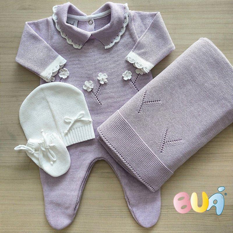 Saída Maternidade Feminina Tricot - Lilás - 02 Peças