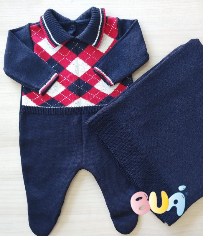 Saida Maternidade Masculina Tricot - Marinho - 02 Peças