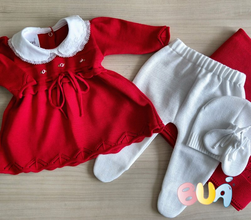 Saída Maternidade Feminina Vestido Tricot - Vermelho / Branco - 03 Peças