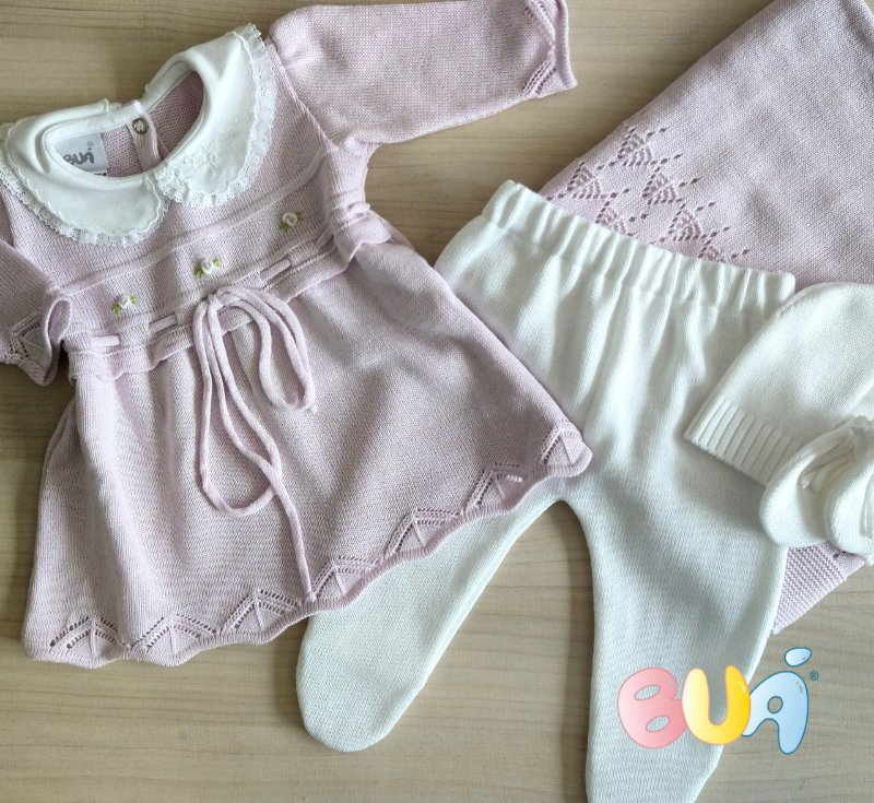 Saída Maternidade Feminina Vestido Tricot - Lilás / Branco - 03 Peças