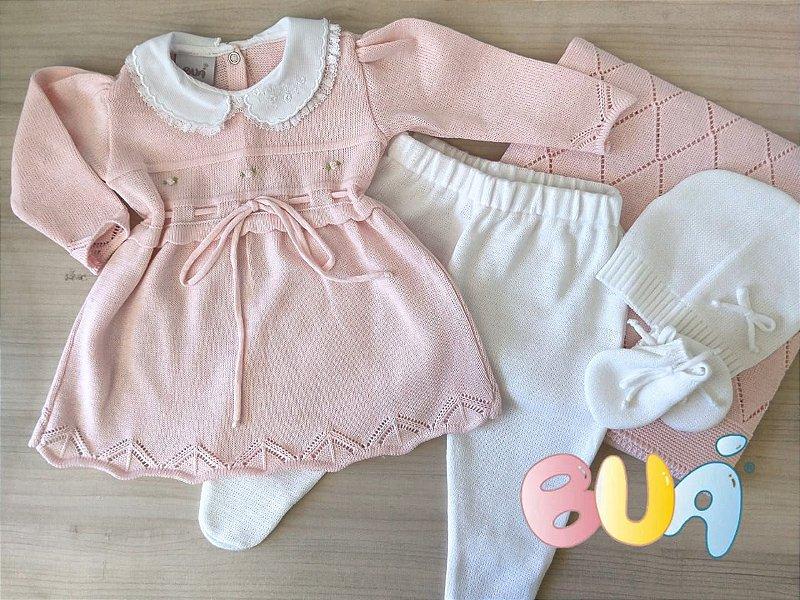 Saída Maternidade Feminina Vestido Tricot - Rosa Bebê / Branco - 03 Peças