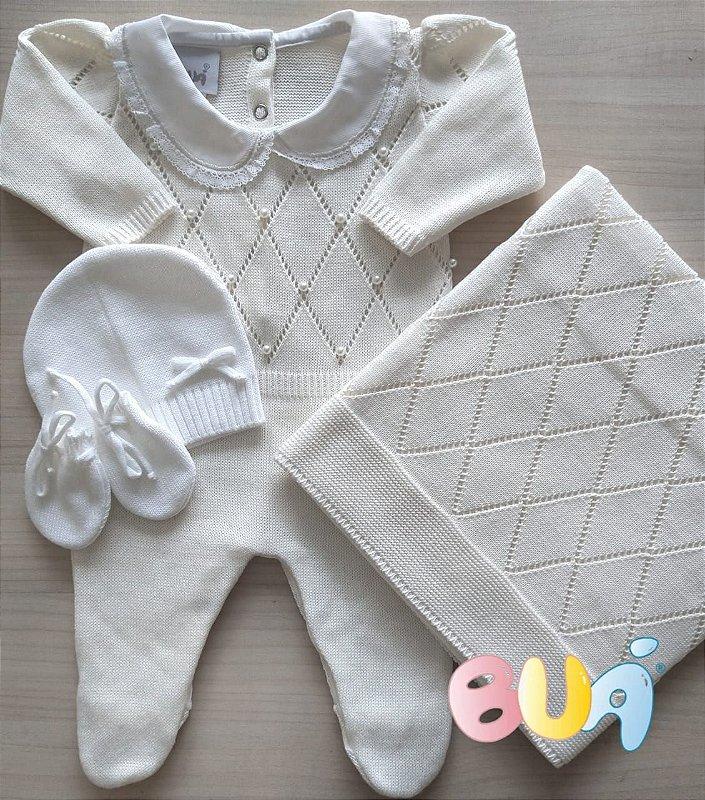 Saída Maternidade Feminina Tricot - Cru - 02 Peças