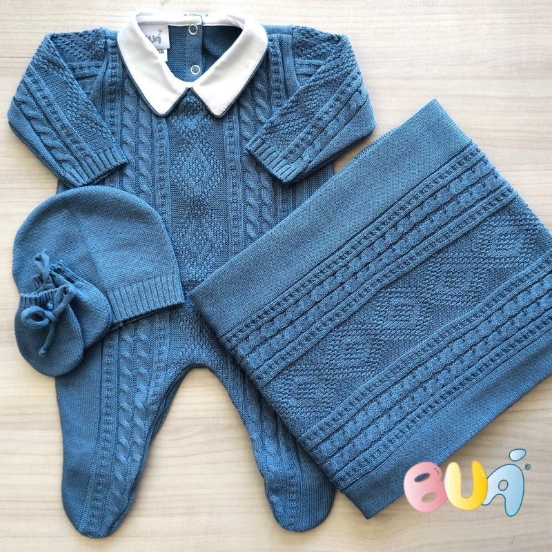 Saída Maternidade Masculina tricot - Indigo Claro - 02 Peças