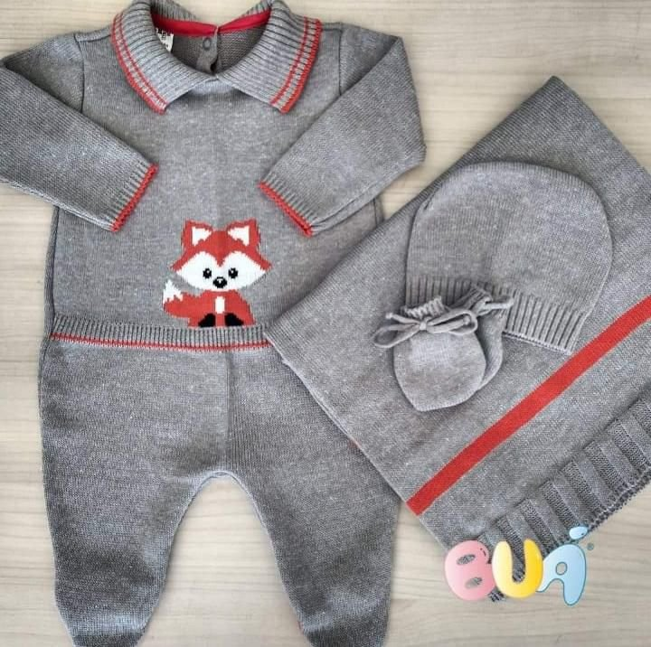 Saída Maternidade Masculina tricot - Cinza / Laranja - 02 Peças