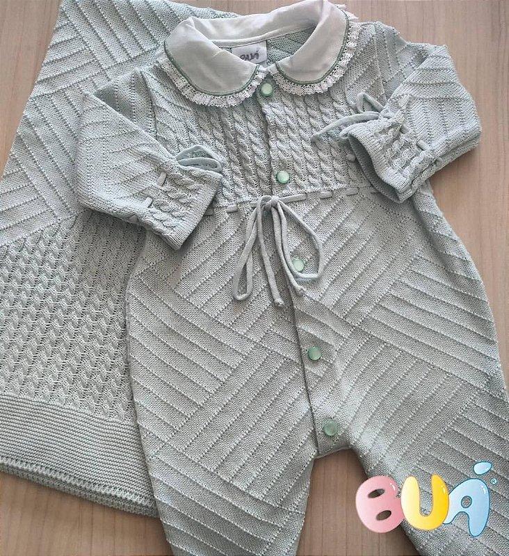 Saída Maternidade Feminina Tricot - Verde Pó - 02 Peças