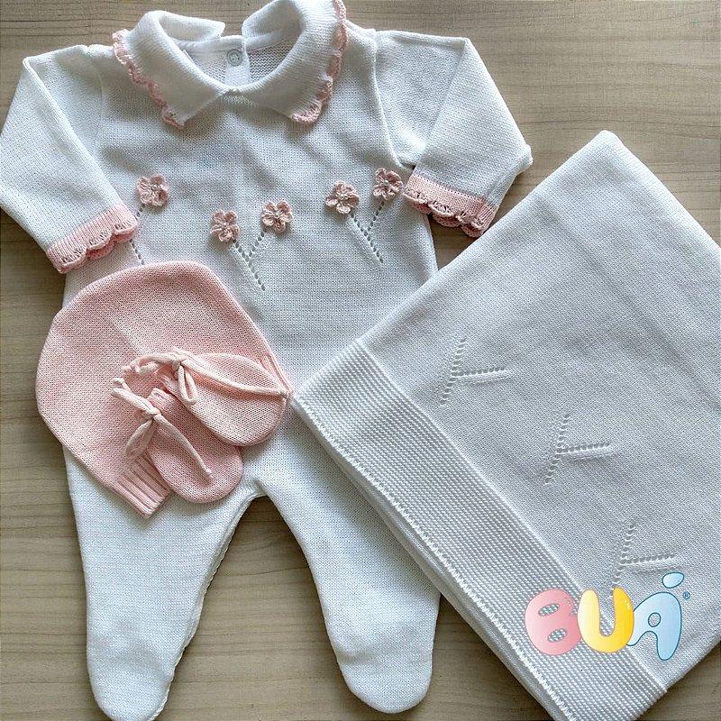 Saída Maternidade Feminina Tricot - Branco / Rosa Bebê - 02 Peças