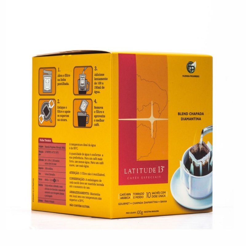Café Latitude 13 - Blend Drip Coffee - Caixa 10 Sachês (100g)