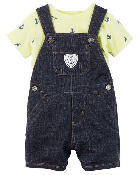 3da18064f Jardineira imita jeans com camiseta estampa náutico - CARTERS - Bebê ...