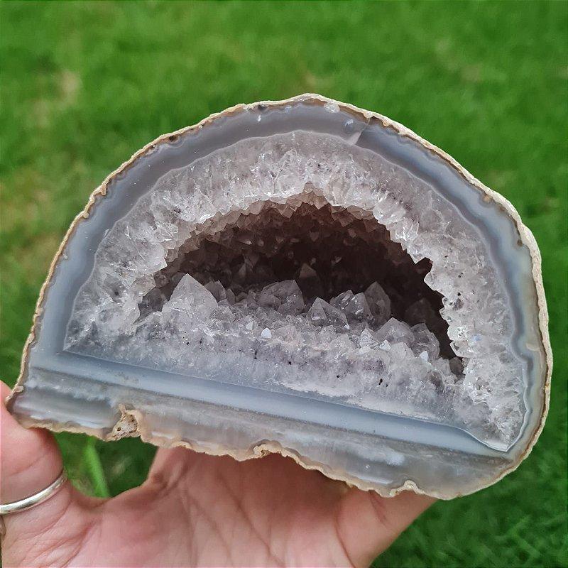Geodo Ágata Natural cinza-azulada 1.031gr